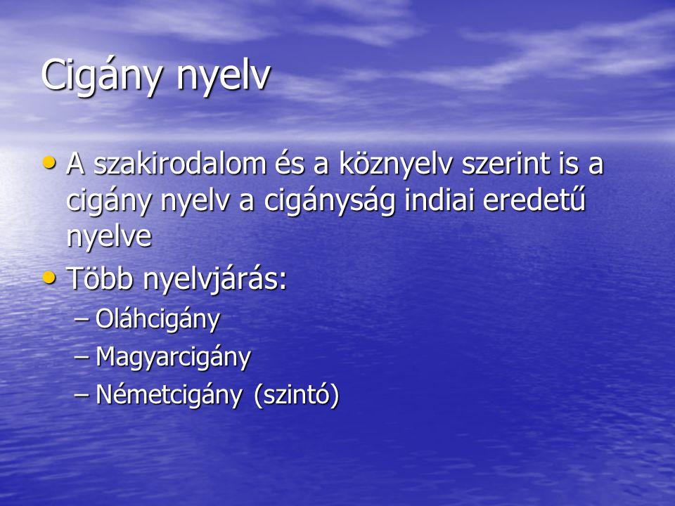 Cigány nyelv • A szakirodalom és a köznyelv szerint is a cigány nyelv a cigányság indiai eredetű nyelve • Több nyelvjárás: –Oláhcigány –Magyarcigány –
