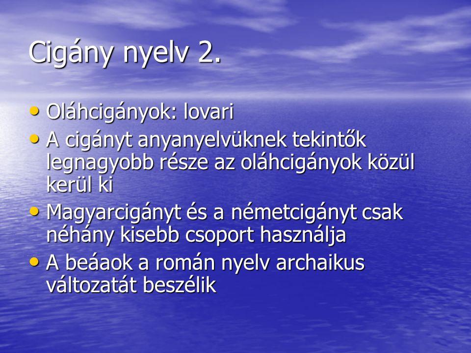 Cigány nyelv 2. • Oláhcigányok: lovari • A cigányt anyanyelvüknek tekintők legnagyobb része az oláhcigányok közül kerül ki • Magyarcigányt és a németc