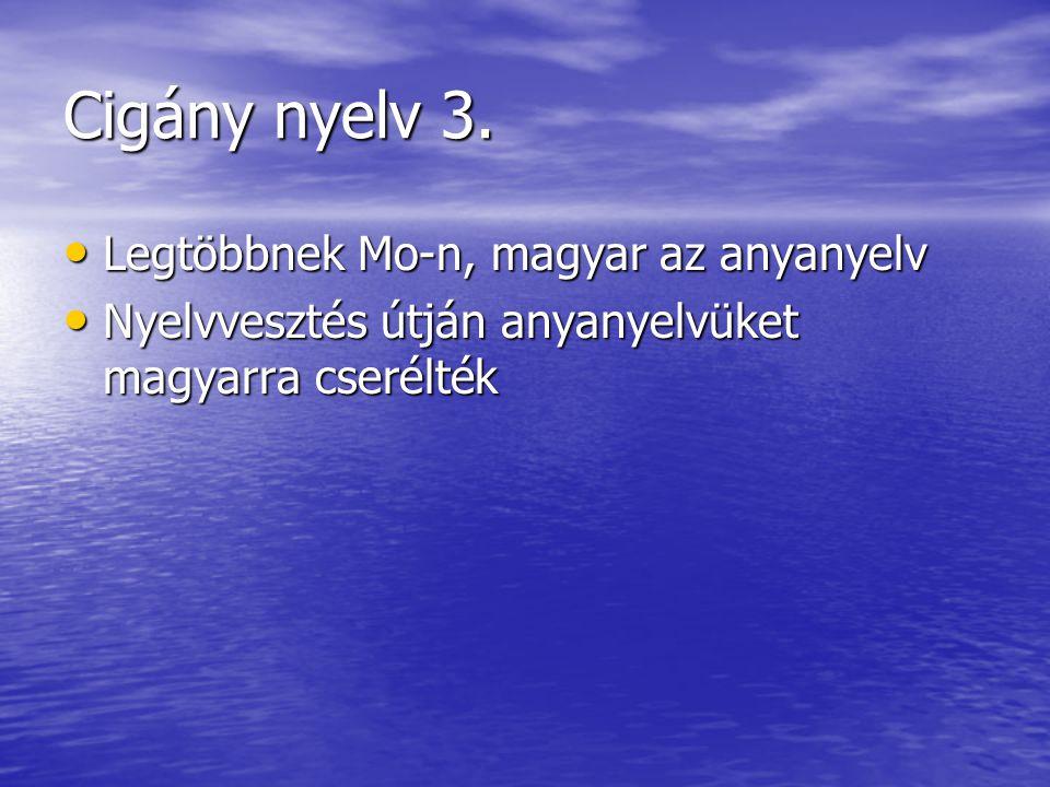Cigány nyelv 3. • Legtöbbnek Mo-n, magyar az anyanyelv • Nyelvvesztés útján anyanyelvüket magyarra cserélték