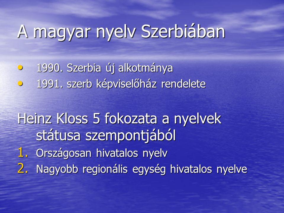 A magyar nyelv Szerbiában • 1990. Szerbia új alkotmánya • 1991. szerb képviselőház rendelete Heinz Kloss 5 fokozata a nyelvek státusa szempontjából 1.