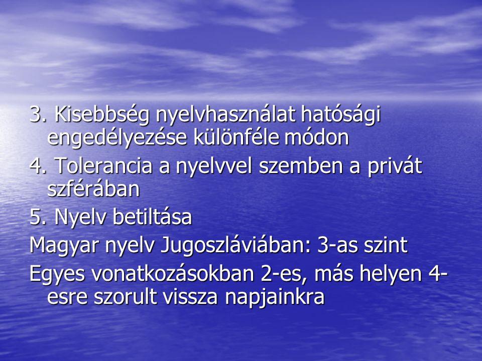 3. Kisebbség nyelvhasználat hatósági engedélyezése különféle módon 4. Tolerancia a nyelvvel szemben a privát szférában 5. Nyelv betiltása Magyar nyelv