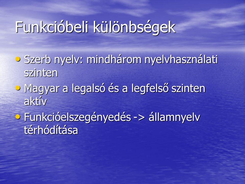 Funkcióbeli különbségek • Szerb nyelv: mindhárom nyelvhasználati szinten • Magyar a legalsó és a legfelső szinten aktív • Funkcióelszegényedés -> államnyelv térhódítása