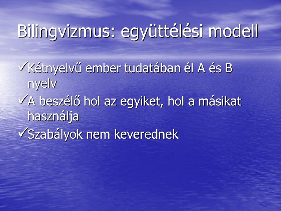 Bilingvizmus: együttélési modell  Kétnyelvű ember tudatában él A és B nyelv  A beszélő hol az egyiket, hol a másikat használja  Szabályok nem kever
