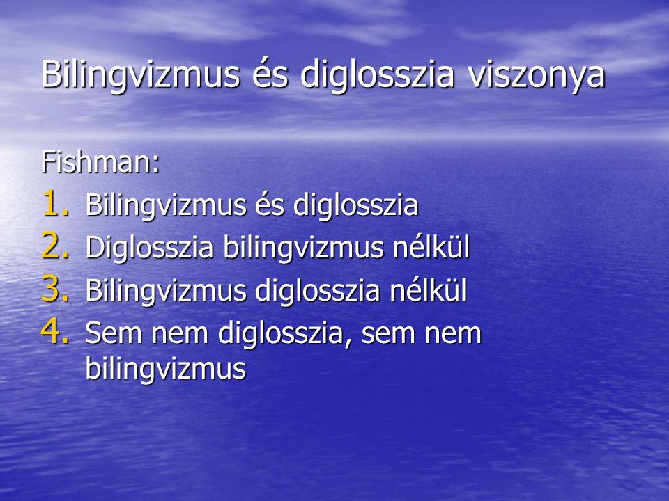 Bilingvizmus és diglosszia viszonya Fishman: 1. Bilingvizmus és diglosszia 2. Diglosszia bilingvizmus nélkül 3. Bilingvizmus diglosszia nélkül 4. Sem