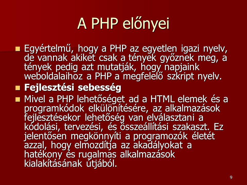 10 A PHP előnyei  Nyílt forráskód  A PHP mint nyílt forráskódú termék jó támogatással rendelkezik, ráadásul a PHP az elterjedtebb operációs rendszerek bármelyikén képes futni, a legtöbb kiszolgáló- programmal együttműködve.
