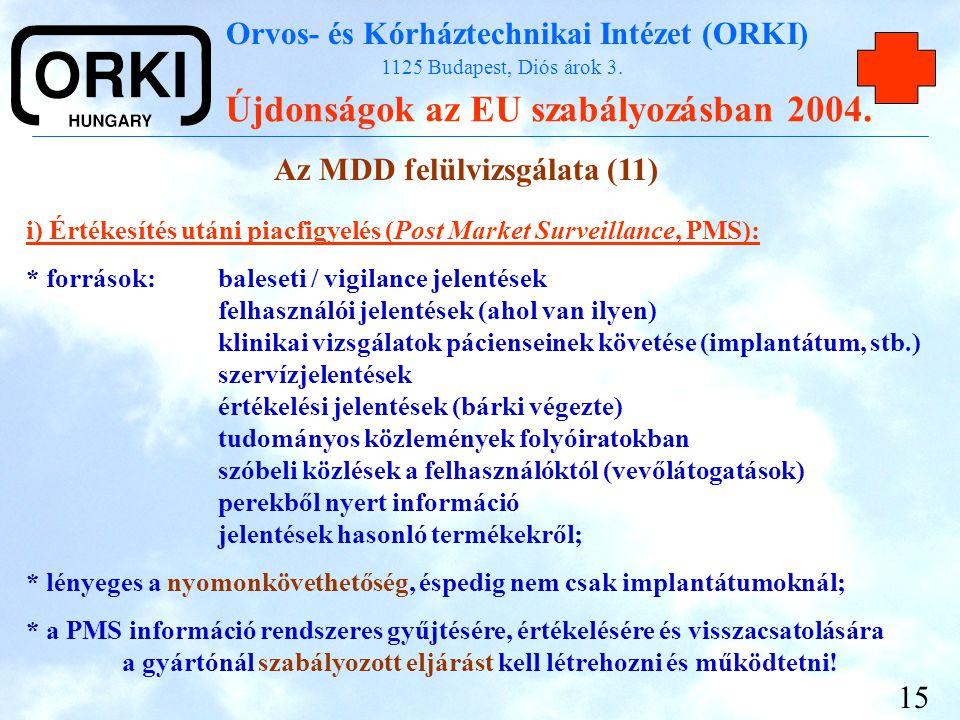 Orvos- és Kórháztechnikai Intézet (ORKI) 1125 Budapest, Diós árok 3. Újdonságok az EU szabályozásban 2004. 15 Az MDD felülvizsgálata (11) i) Értékesít