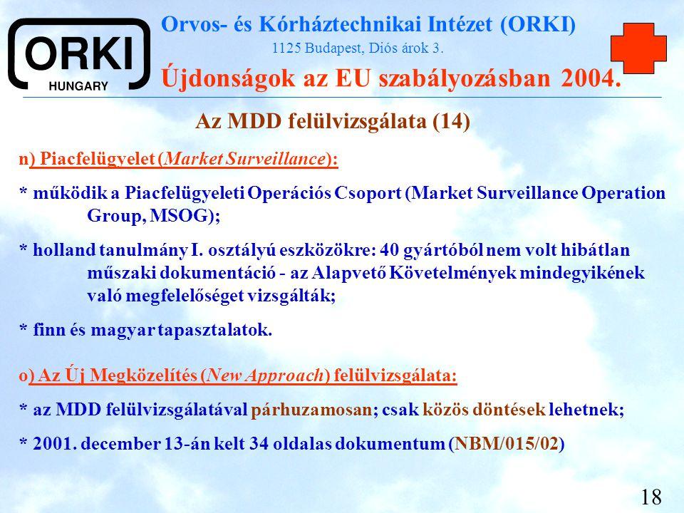 Orvos- és Kórháztechnikai Intézet (ORKI) 1125 Budapest, Diós árok 3. Újdonságok az EU szabályozásban 2004. 18 n) Piacfelügyelet (Market Surveillance):