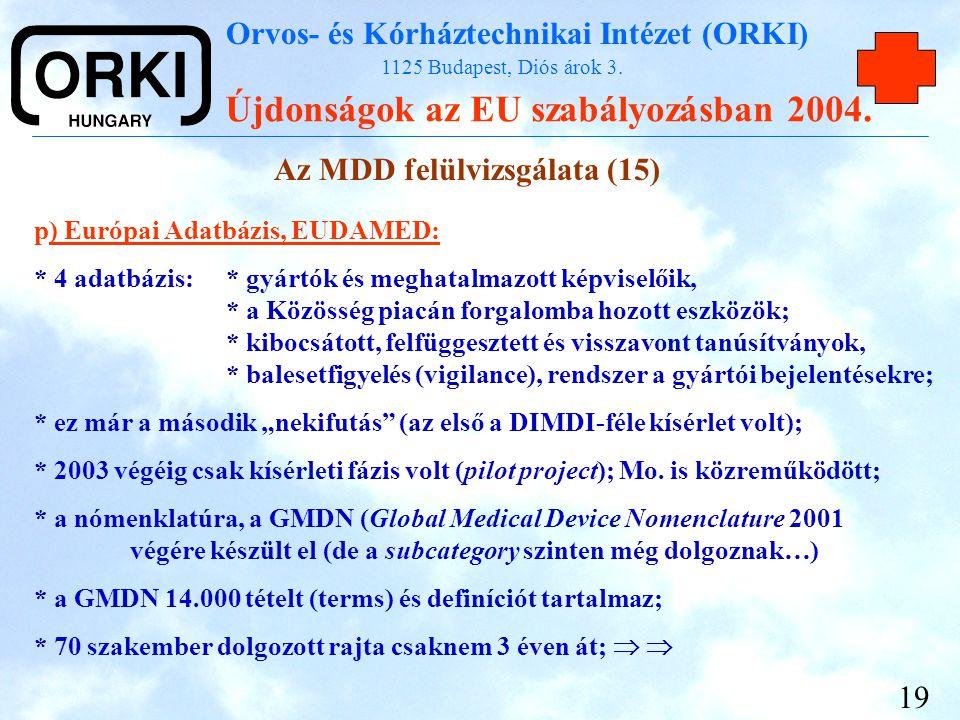 Orvos- és Kórháztechnikai Intézet (ORKI) 1125 Budapest, Diós árok 3. Újdonságok az EU szabályozásban 2004. 19 p) Európai Adatbázis, EUDAMED: * 4 adatb