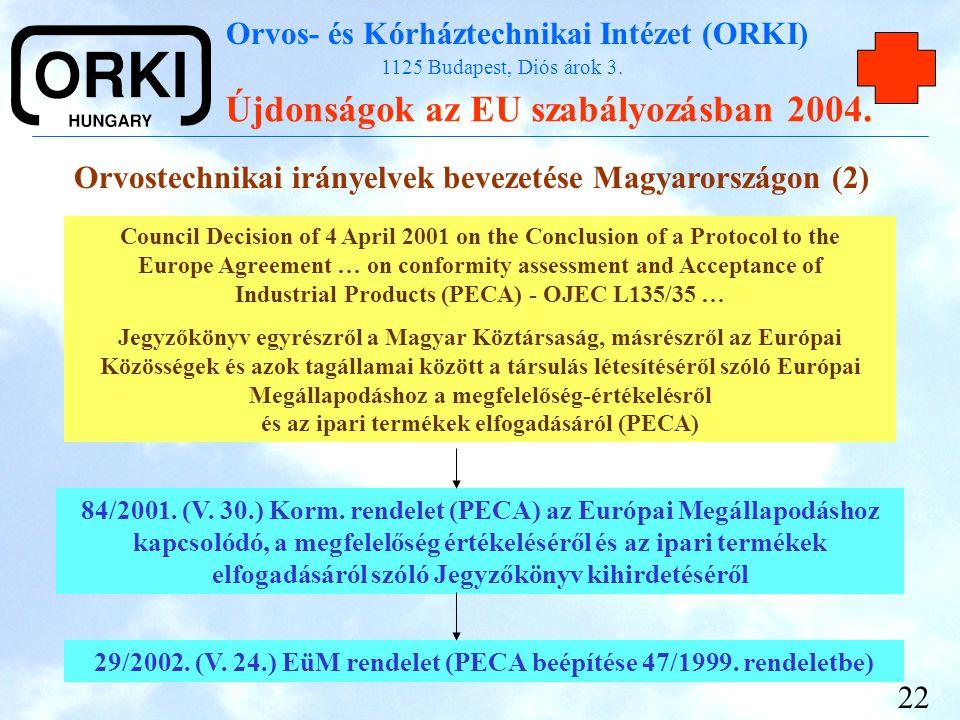 Orvos- és Kórháztechnikai Intézet (ORKI) 1125 Budapest, Diós árok 3. Újdonságok az EU szabályozásban 2004. 22 Orvostechnikai irányelvek bevezetése Mag