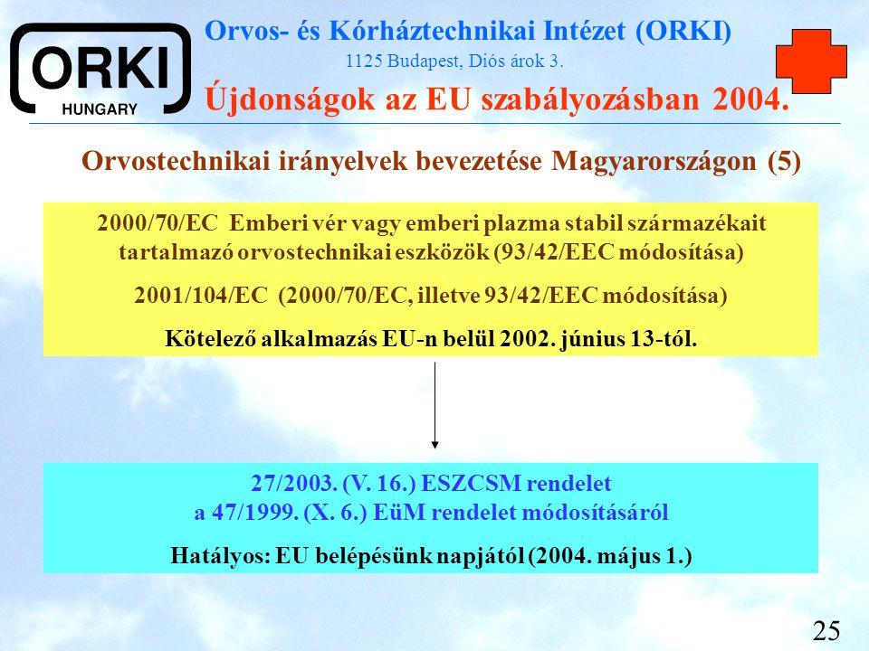 Orvos- és Kórháztechnikai Intézet (ORKI) 1125 Budapest, Diós árok 3. Újdonságok az EU szabályozásban 2004. 25 Orvostechnikai irányelvek bevezetése Mag
