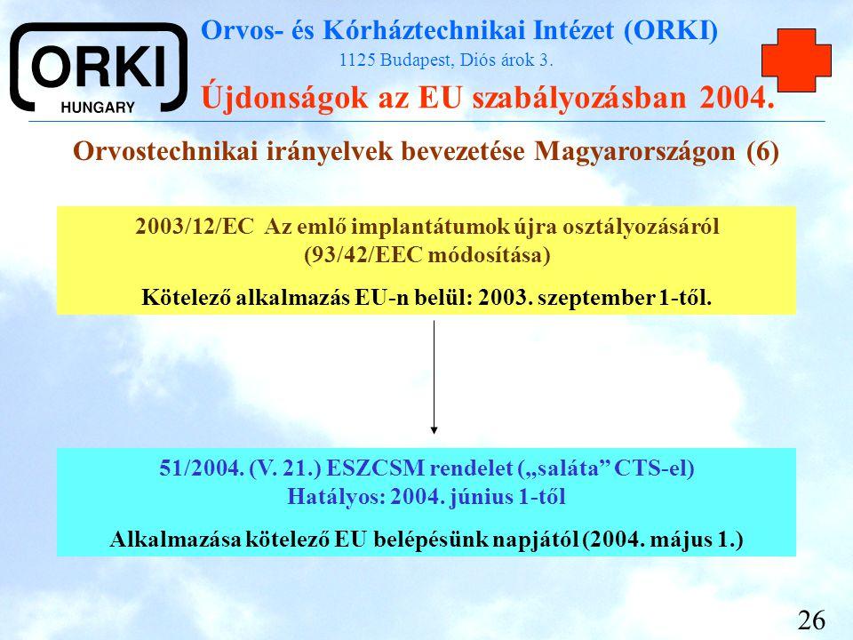 Orvos- és Kórháztechnikai Intézet (ORKI) 1125 Budapest, Diós árok 3. Újdonságok az EU szabályozásban 2004. 26 Orvostechnikai irányelvek bevezetése Mag