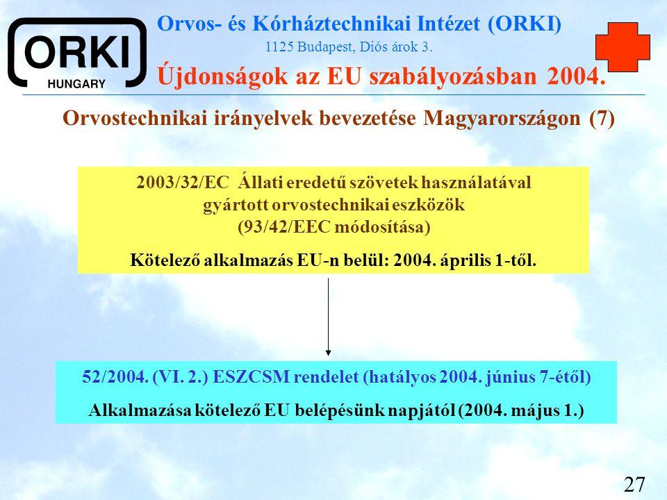 Orvos- és Kórháztechnikai Intézet (ORKI) 1125 Budapest, Diós árok 3. Újdonságok az EU szabályozásban 2004. 27 Orvostechnikai irányelvek bevezetése Mag