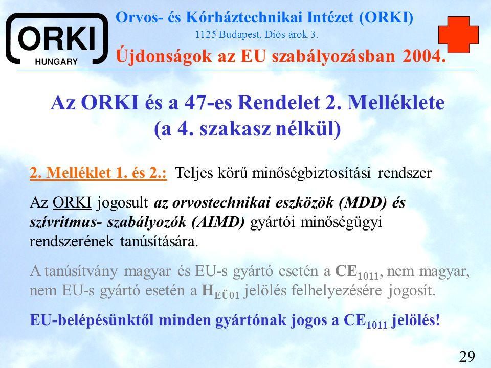 Orvos- és Kórháztechnikai Intézet (ORKI) 1125 Budapest, Diós árok 3. Újdonságok az EU szabályozásban 2004. 29 Az ORKI és a 47-es Rendelet 2. Melléklet