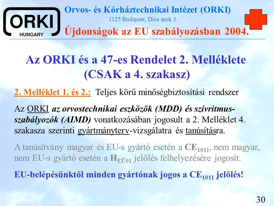 Orvos- és Kórháztechnikai Intézet (ORKI) 1125 Budapest, Diós árok 3. Újdonságok az EU szabályozásban 2004. 30 Az ORKI és a 47-es Rendelet 2. Melléklet