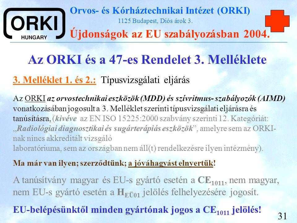 Orvos- és Kórháztechnikai Intézet (ORKI) 1125 Budapest, Diós árok 3. Újdonságok az EU szabályozásban 2004. 31 Az ORKI és a 47-es Rendelet 3. Melléklet