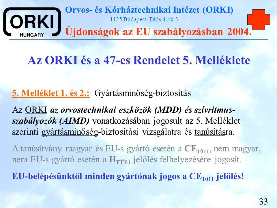 Orvos- és Kórháztechnikai Intézet (ORKI) 1125 Budapest, Diós árok 3. Újdonságok az EU szabályozásban 2004. 33 Az ORKI és a 47-es Rendelet 5. Melléklet