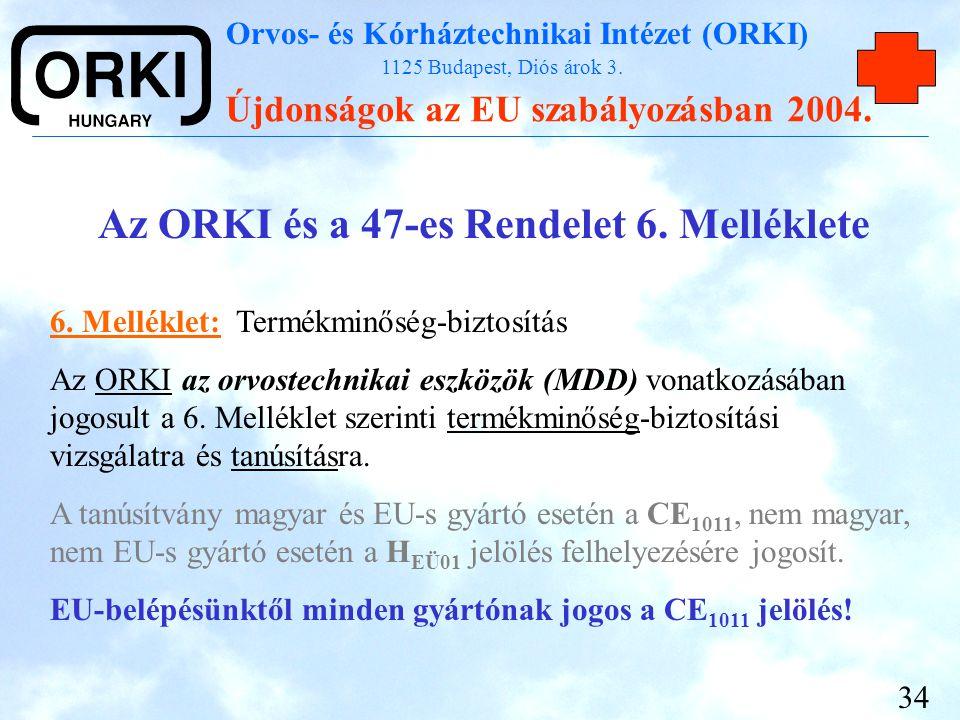 Orvos- és Kórháztechnikai Intézet (ORKI) 1125 Budapest, Diós árok 3. Újdonságok az EU szabályozásban 2004. 34 Az ORKI és a 47-es Rendelet 6. Melléklet