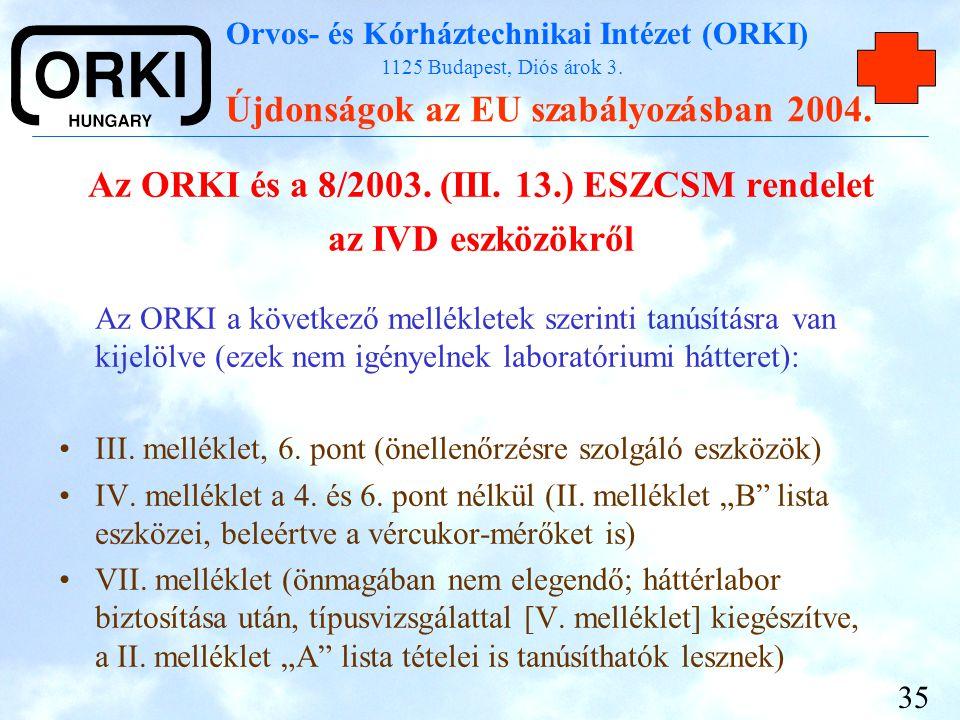 Orvos- és Kórháztechnikai Intézet (ORKI) 1125 Budapest, Diós árok 3. Újdonságok az EU szabályozásban 2004. 35 Az ORKI és a 8/2003. (III. 13.) ESZCSM r