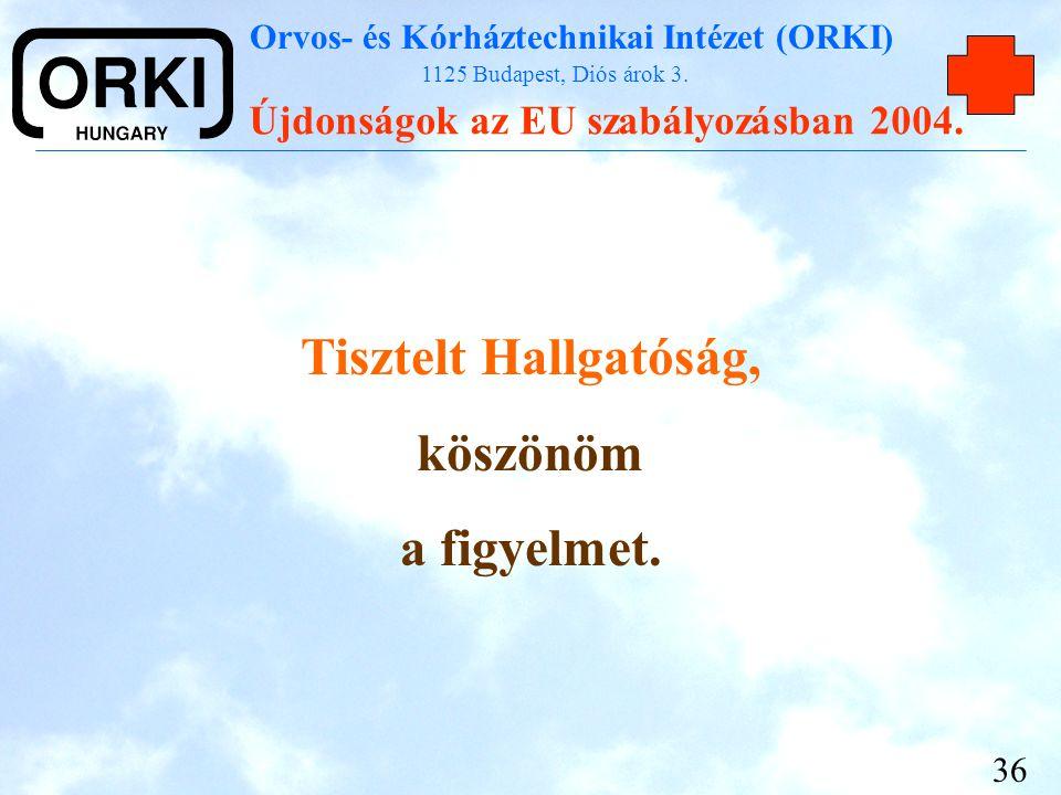 Orvos- és Kórháztechnikai Intézet (ORKI) 1125 Budapest, Diós árok 3. Újdonságok az EU szabályozásban 2004. 36 Tisztelt Hallgatóság, köszönöm a figyelm