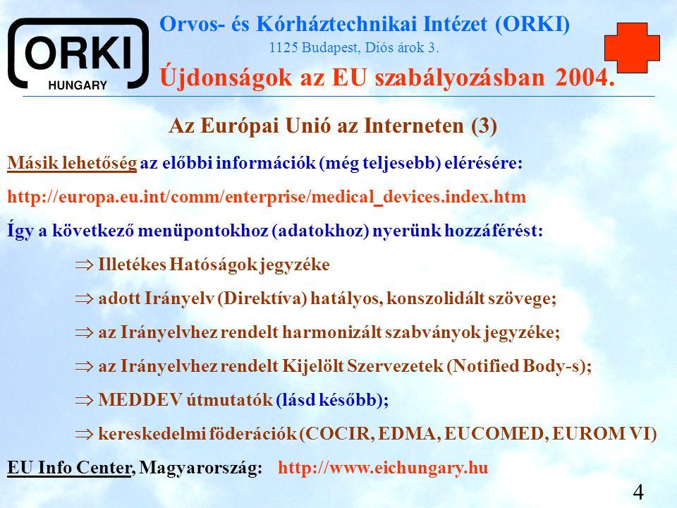 Orvos- és Kórháztechnikai Intézet (ORKI) 1125 Budapest, Diós árok 3. Újdonságok az EU szabályozásban 2004. 4 Az Európai Unió az Interneten (3) Másik l
