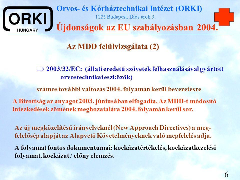 Orvos- és Kórháztechnikai Intézet (ORKI) 1125 Budapest, Diós árok 3. Újdonságok az EU szabályozásban 2004. 6 Az MDD felülvizsgálata (2)  2003/32/EC: