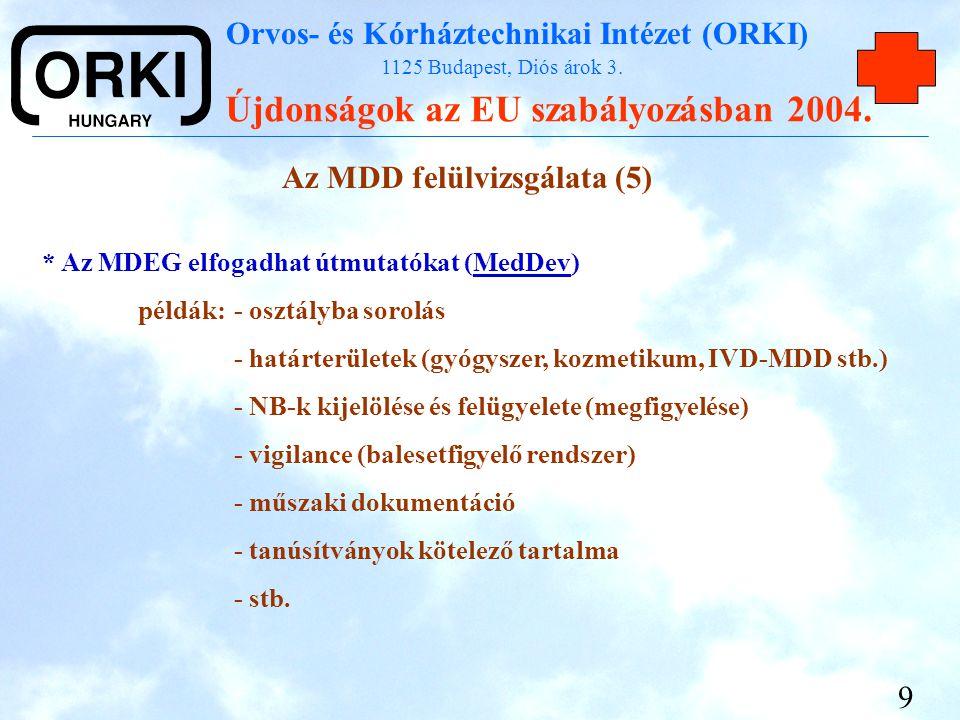 Orvos- és Kórháztechnikai Intézet (ORKI) 1125 Budapest, Diós árok 3. Újdonságok az EU szabályozásban 2004. 9 Az MDD felülvizsgálata (5) * Az MDEG elfo