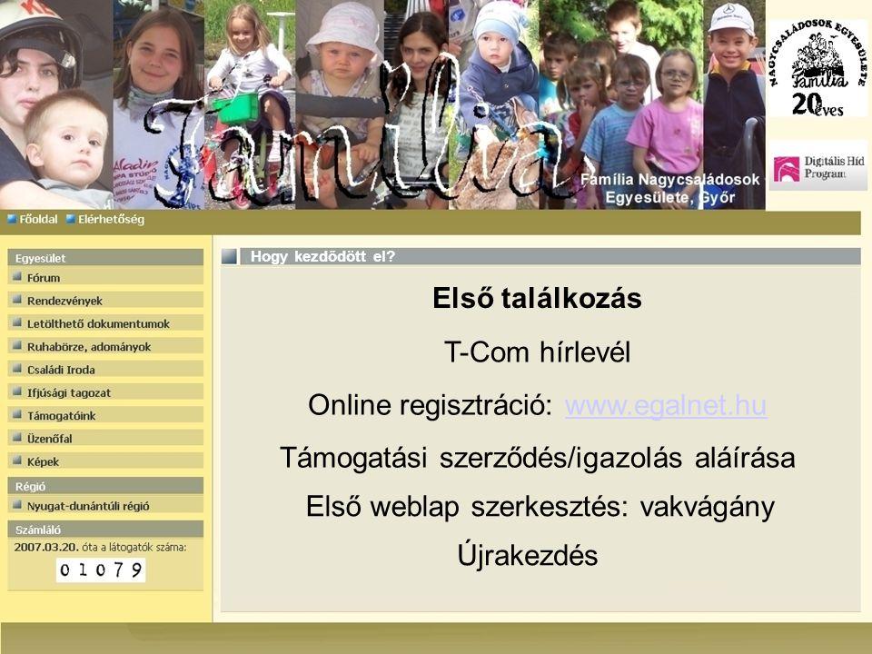 Első találkozás Hogy kezdődött el? T-Com hírlevél Online regisztráció: www.egalnet.huwww.egalnet.hu Támogatási szerződés/igazolás aláírása Első weblap