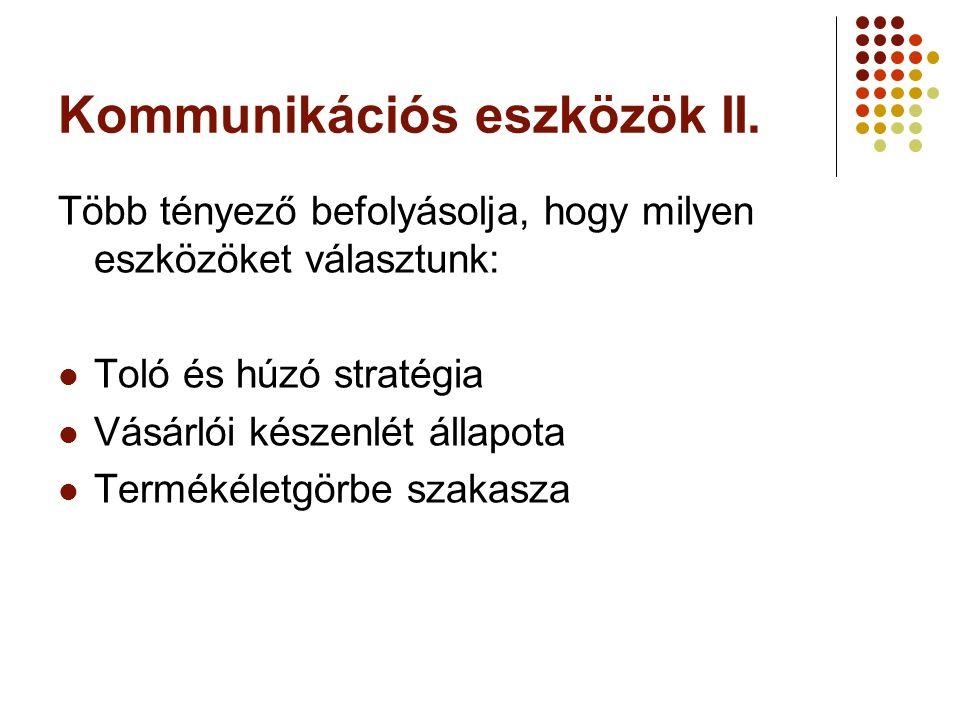 Kommunikációs eszközök II. Több tényező befolyásolja, hogy milyen eszközöket választunk:  Toló és húzó stratégia  Vásárlói készenlét állapota  Term