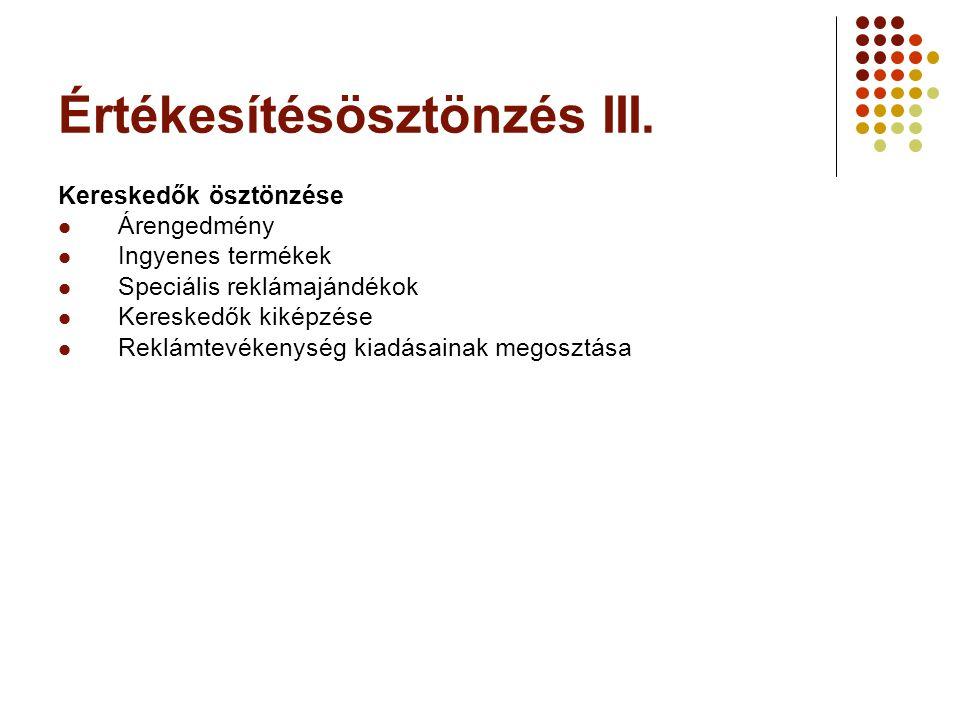 Értékesítésösztönzés III. Kereskedők ösztönzése  Árengedmény  Ingyenes termékek  Speciális reklámajándékok  Kereskedők kiképzése  Reklámtevékenys