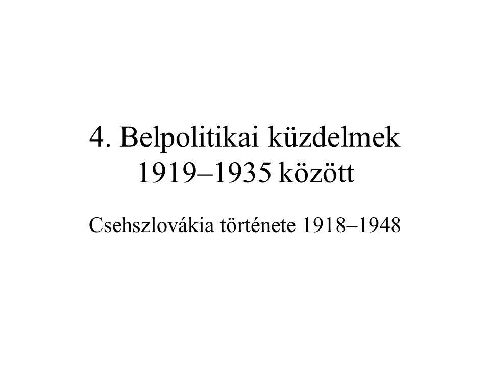 """Kramář kormánya •""""Ausztriátlanítás –1918 őszén a Habsburgok trónfosztása, majd a nemesi címek eltörlése –1919-ben külön vámterület, önálló valuta (osztrák korona felülbélyegzése) –nagybankok és Rt.-k nosztrifikálása, hivatali személycserék •Tömegmozgalmak és reformok, reformtervek –1918–1919: feloszlatják a Nemzeti biz.-okat, Szlovák Nemzeti Tanácsot –szakszervezetek, üzemi tanácsok fejlődése, létrejötte: sztrájkok, tüntetések követelik a szocializálást, lépnek fel a tőkés rend ellen –a kormány megosztott (még az SZDP is max."""