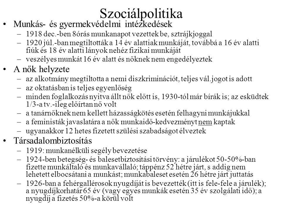 Szociálpolitika •Munkás- és gyermekvédelmi intézkedések –1918 dec.-ben 8órás munkanapot vezettek be, sztrájkjoggal –1920 júl.-ban megtiltották a 14 év