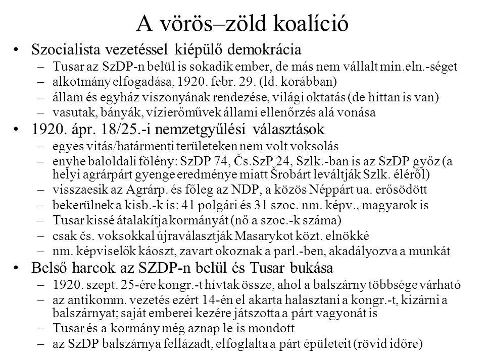 A vörös–zöld koalíció •Szocialista vezetéssel kiépülő demokrácia –Tusar az SzDP-n belül is sokadik ember, de más nem vállalt min.eln.-séget –alkotmány