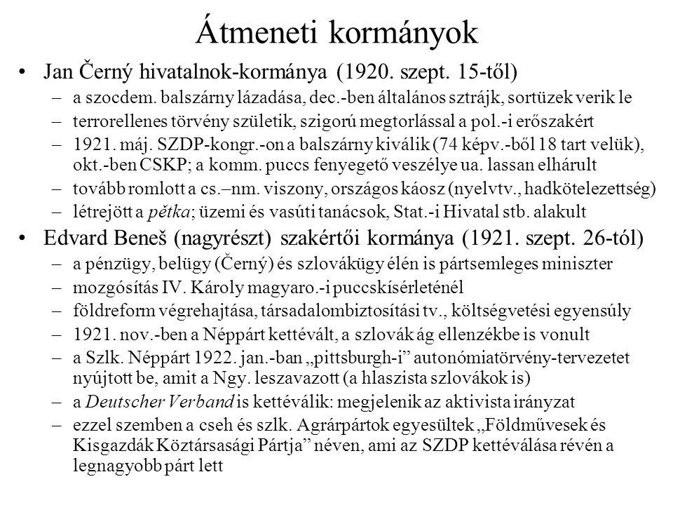 Átmeneti kormányok •Jan Černý hivatalnok-kormánya (1920. szept. 15-től) –a szocdem. balszárny lázadása, dec.-ben általános sztrájk, sortüzek verik le