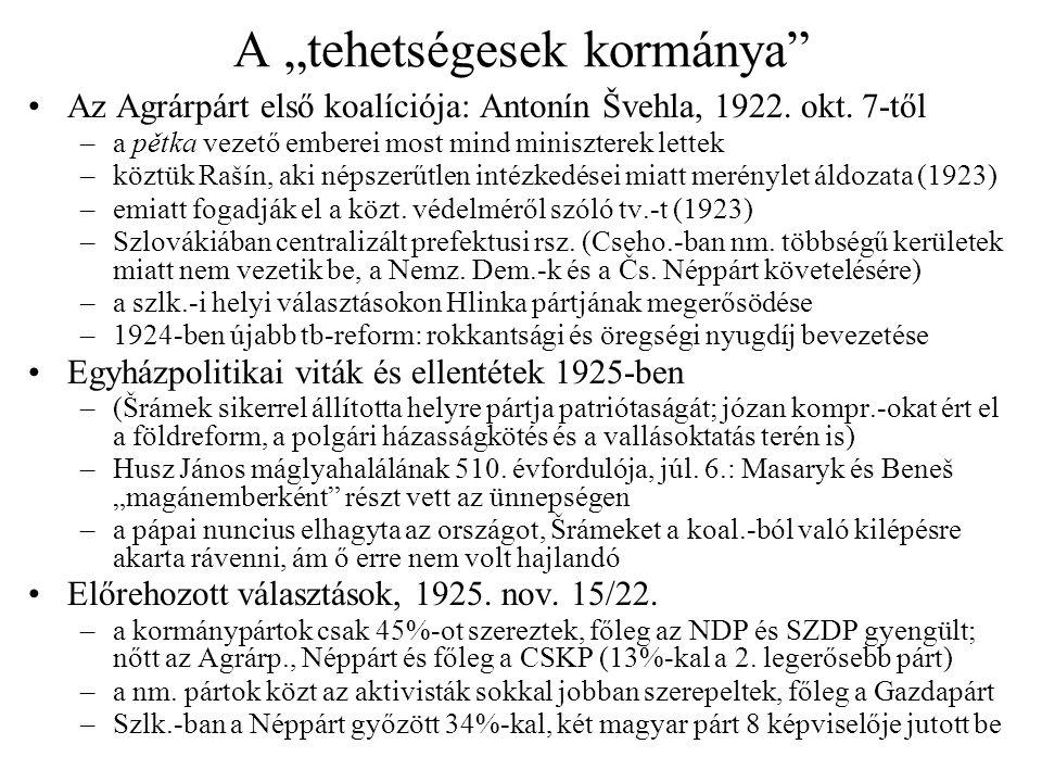 """A """"tehetségesek kormánya"""" •Az Agrárpárt első koalíciója: Antonín Švehla, 1922. okt. 7-től –a pětka vezető emberei most mind miniszterek lettek –köztük"""