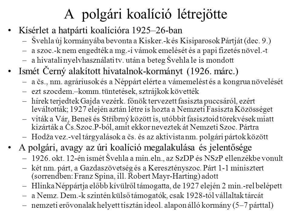 A polgári koalíció létrejötte •Kísérlet a hatpárti koalícióra 1925–26-ban –Švehla új kormányába bevonta a Kisker.-k és Kisiparosok Pártját (dec. 9.) –