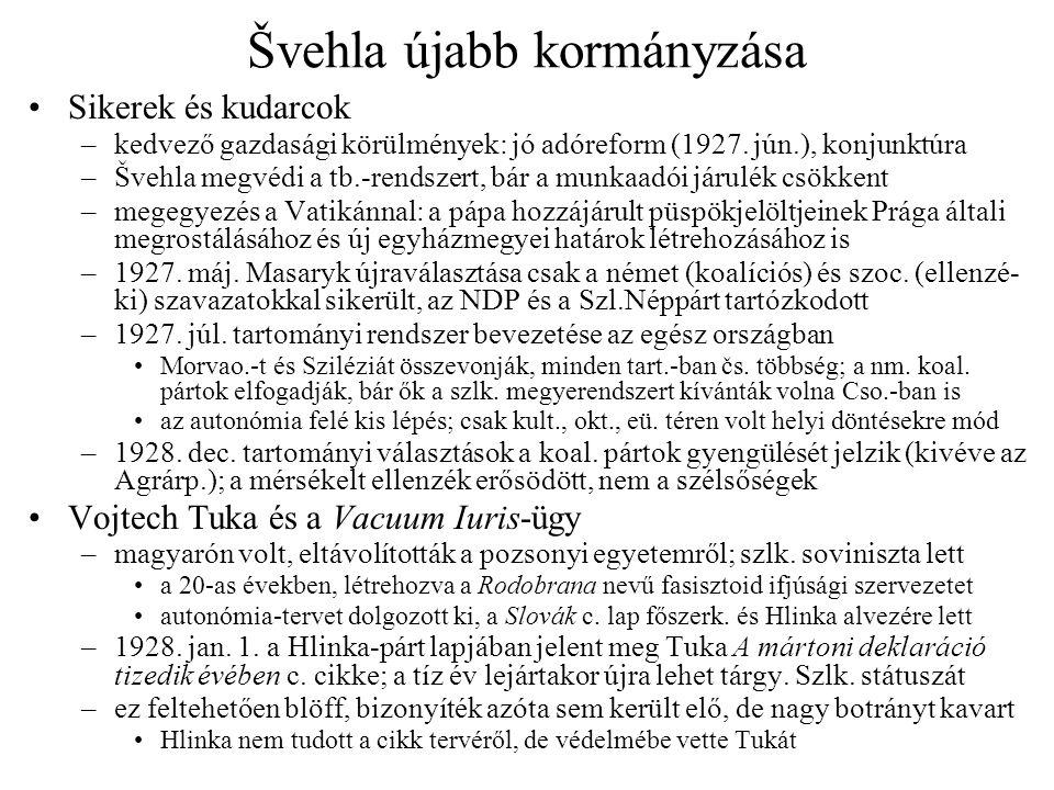 Švehla újabb kormányzása •Sikerek és kudarcok –kedvező gazdasági körülmények: jó adóreform (1927. jún.), konjunktúra –Švehla megvédi a tb.-rendszert,