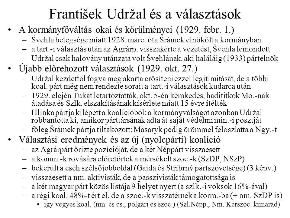 František Udržal és a választások •A kormányfőváltás okai és körülményei (1929. febr. 1.) –Švehla betegsége miatt 1928. márc. óta Šrámek elnökölt a ko
