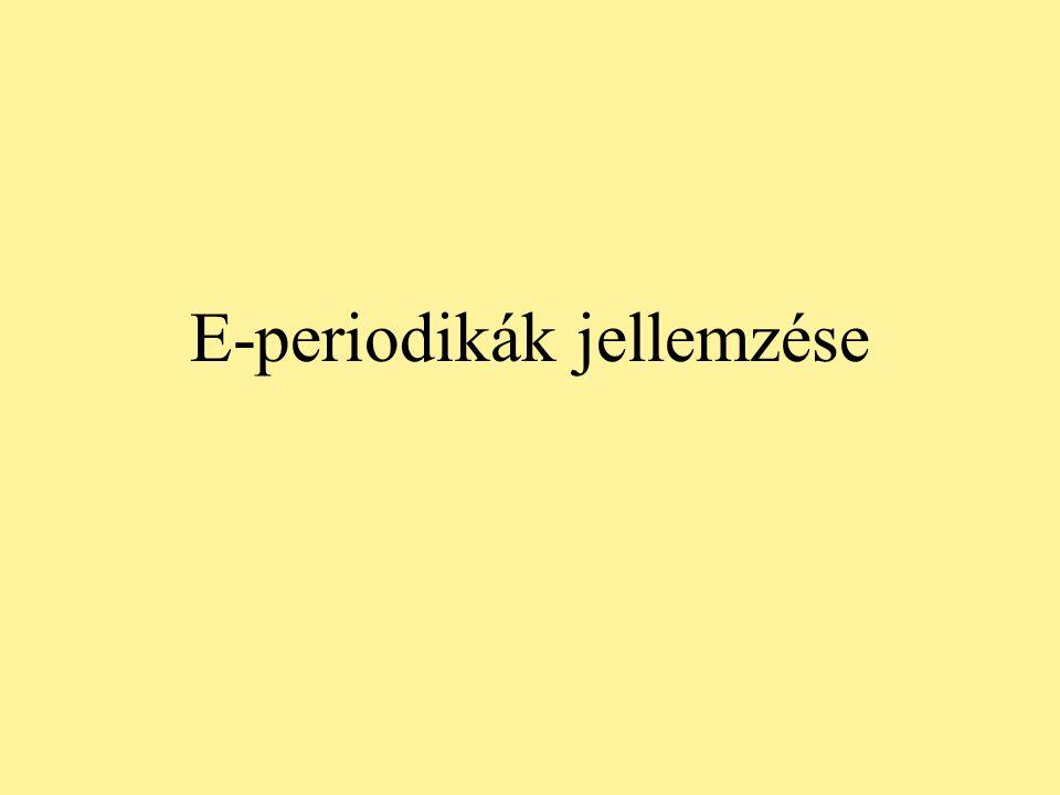 E-periodikák jellemzése