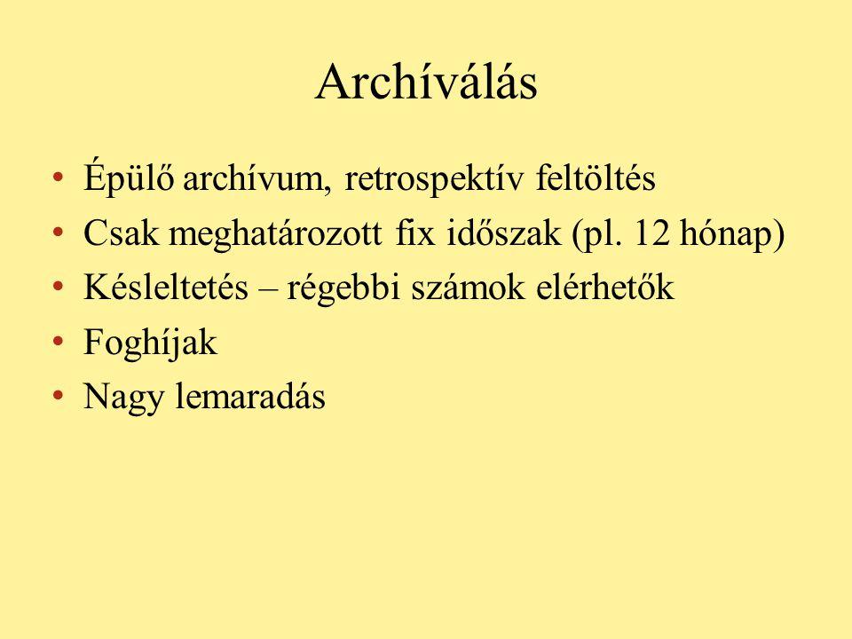Archíválás • Épülő archívum, retrospektív feltöltés • Csak meghatározott fix időszak (pl. 12 hónap) • Késleltetés – régebbi számok elérhetők • Foghíja