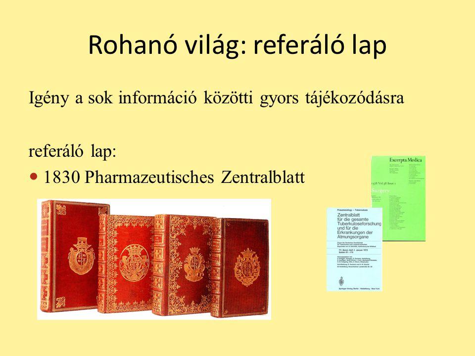 Rohanó világ: referáló lap Igény a sok információ közötti gyors tájékozódásra referáló lap:  1830 Pharmazeutisches Zentralblatt