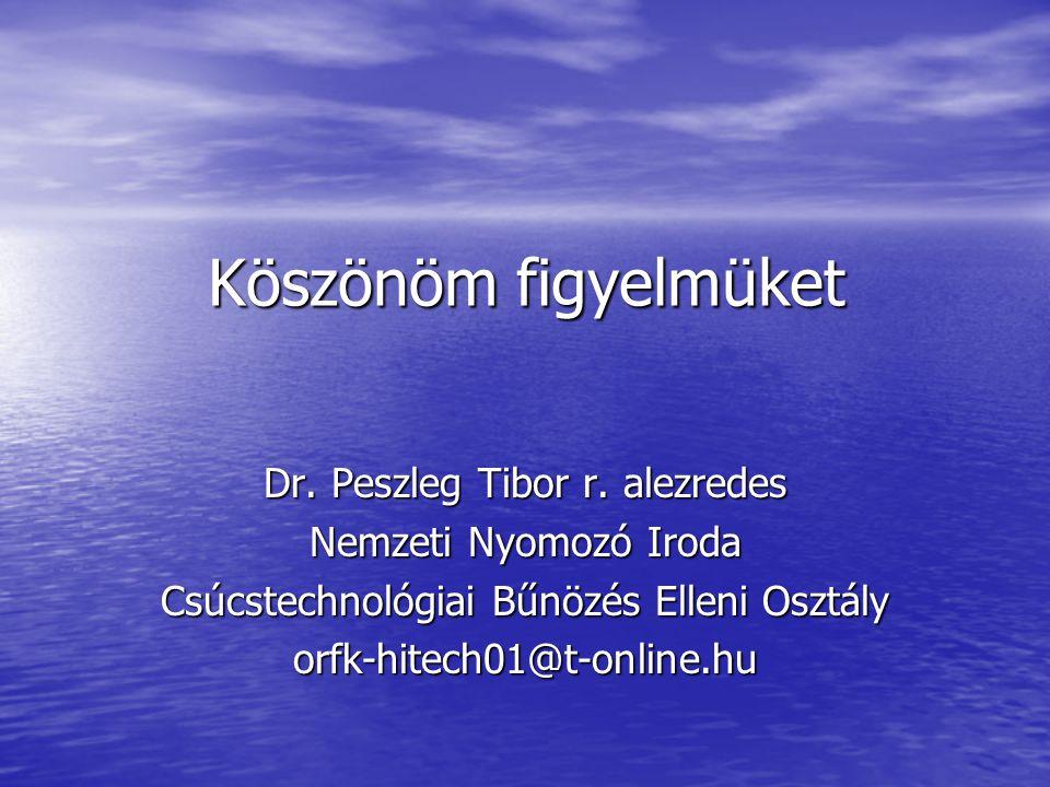 Köszönöm figyelmüket Dr. Peszleg Tibor r. alezredes Nemzeti Nyomozó Iroda Csúcstechnológiai Bűnözés Elleni Osztály orfk-hitech01@t-online.hu