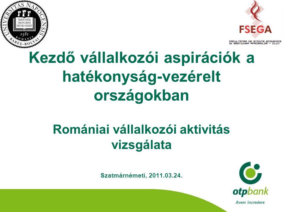 Avem încredere Kezdő vállalkozói aspirációk a hatékonyság-vezérelt országokban Romániai vállalkozói aktivitás vizsgálata Szatmárnémeti, 2011.03.24.