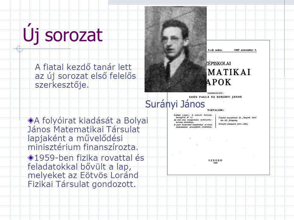 Új sorozat A fiatal kezdő tanár lett az új sorozat első felelős szerkesztője. A folyóirat kiadását a Bolyai János Matematikai Társulat lapjaként a műv