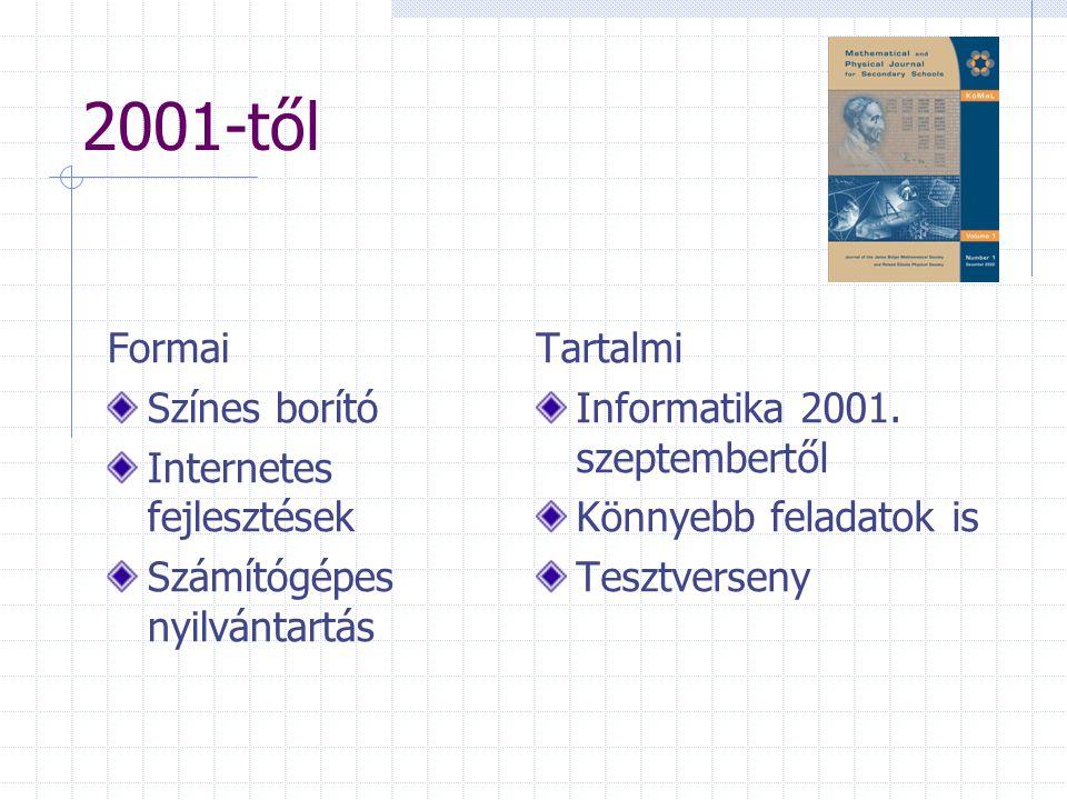 2001-től Formai Színes borító Internetes fejlesztések Számítógépes nyilvántartás Tartalmi Informatika 2001. szeptembertől Könnyebb feladatok is Tesztv