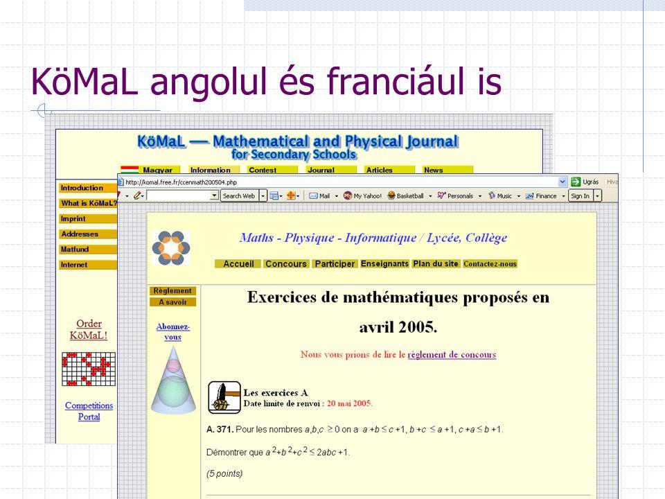KöMaL angolul és franciául is komal.fr