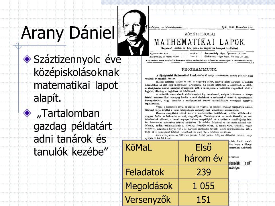 """Arany Dániel Száztizennyolc éve középiskolásoknak matematikai lapot alapít. """"Tartalomban gazdag példatárt adni tanárok és tanulók kezébe"""" KöMaLElső há"""