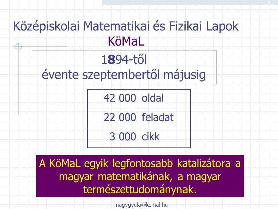 Középiskolai Matematikai és Fizikai Lapok KöMaL 1894-től évente szeptembertől májusig 42 000oldal 22 000feladat 3 000cikk A KöMaL egyik legfontosabb k