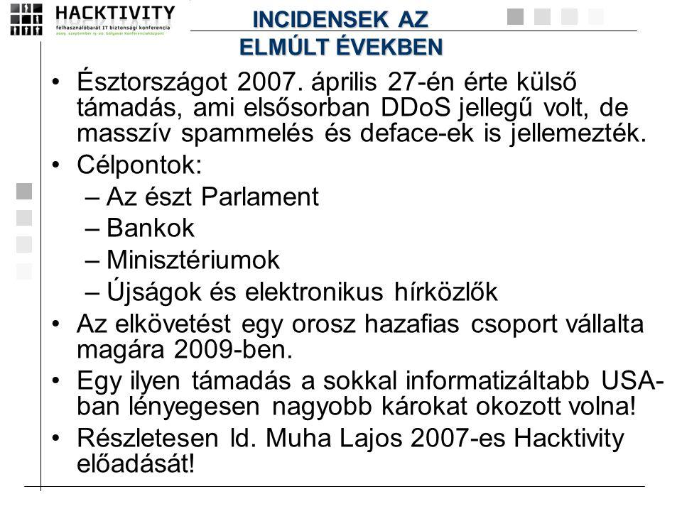 •Észtországot 2007. április 27-én érte külső támadás, ami elsősorban DDoS jellegű volt, de masszív spammelés és deface-ek is jellemezték. •Célpontok: