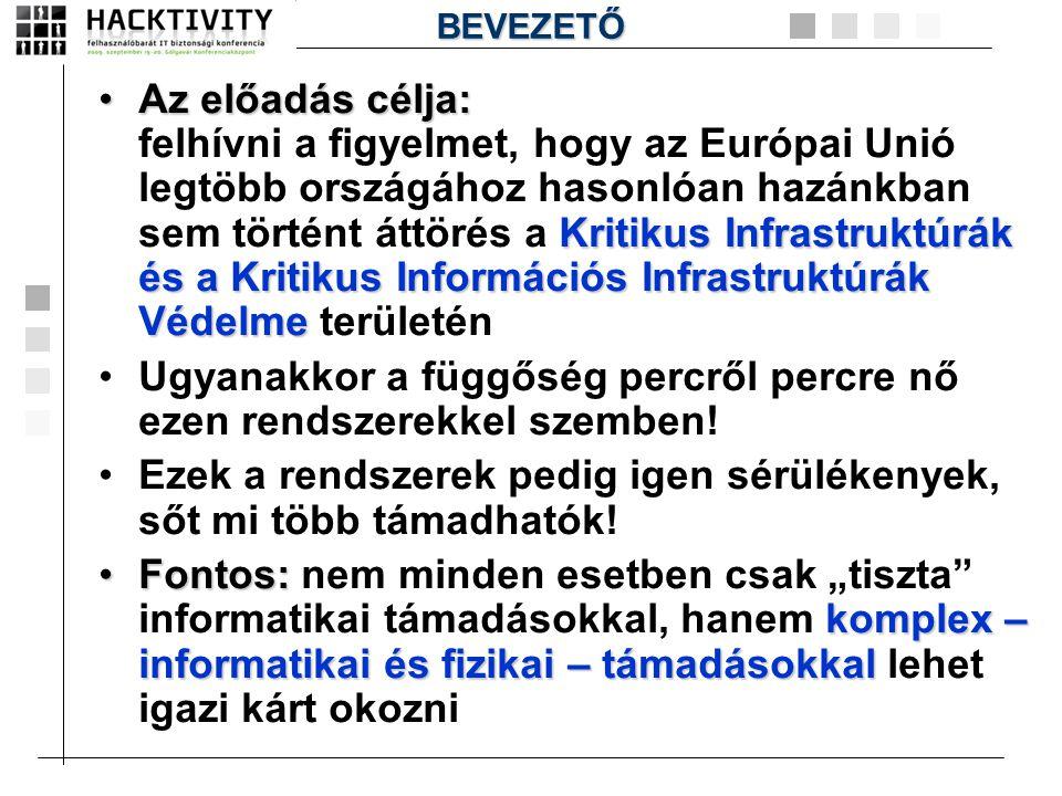 •Az előadás célja: Kritikus Infrastruktúrák és a Kritikus Információs Infrastruktúrák Védelme •Az előadás célja: felhívni a figyelmet, hogy az Európai