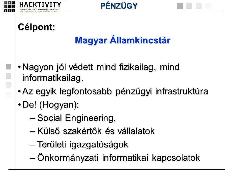 Célpont: Magyar Államkincstár •Nagyon jól védett mind fizikailag, mind informatikailag. •Az egyik legfontosabb pénzügyi infrastruktúra •De! (Hogyan):